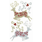 EK Success - Jolee's Boutique - Parcel Collection - Christmas - 3 Dimensional Stickers with Glitter and Gem Accents - Christmas Reindeers