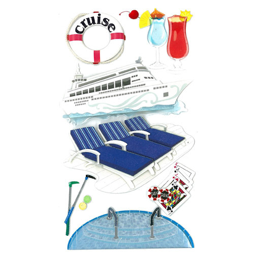 EK Success - Jolee's Boutique - 3 Dimensional Stickers with Epoxy and Foil Accents - Cruise Fun