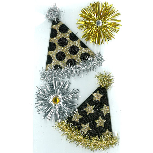 EK Success - Jolee's Boutique - Parcel Refresh Collection - 3 Dimensional Stickers with Gem and Glitter Accents - Vintage Party Hats