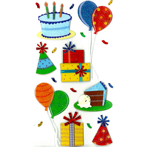 EK Success - Jolee's Boutique - 3 Dimensional Stickers with Epoxy and Glitter Accents - Birthday Celebration