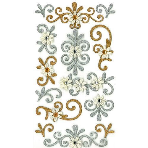 EK Success - Jolee's Boutique - 3 Dimensional Stickers with Gem and Glitter Accents - Gold and Silver Flourishes
