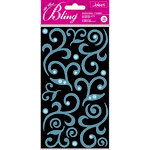 EK Success - Jolee's Boutique - All That Bling Collection - 3 Dimensional Chipboard Stickers - Flourish - Light Blue