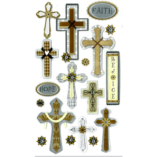 EK Success - Jolee's Boutique - 3 Dimensional Stickers with Epoxy Foil and Gem Accents - Faith Hope and Rejoice