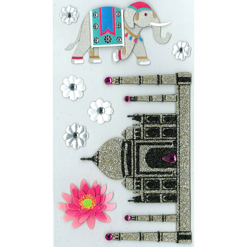 EK Success - Jolee's Boutique - Parcel Refresh Collection - 3 Dimensional Stickers with Foil Gem and Glitter Accents - India