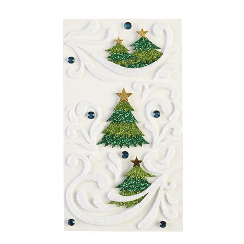 EK Success - Jolee's Boutique - Christmas - 3 Dimensional Stickers with Foil Gem and Glitter Accents - Flourishes and Christmas Trees