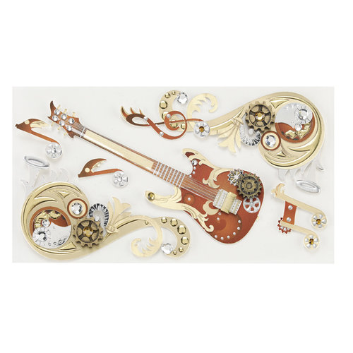 EK Success - Jolee's Boutique - Steampunk Collection - 3 Dimensional Stickers with Foil and Gem Accents - Music Flourish