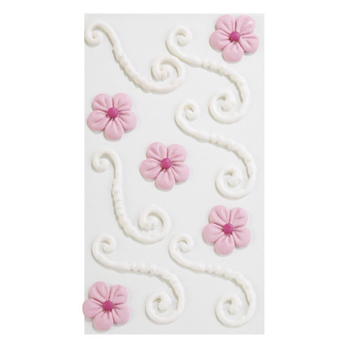 EK Success - Jolee's Boutique - Confections Collection - 3 Dimensional Stickers - White Icing Flourishes with Pink Flowers