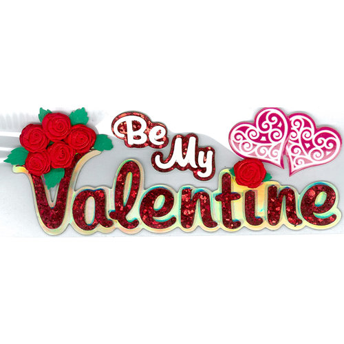 EK Success - Jolee's Boutique - Valentine's Day Collection - 3 Dimensional Stickers with Foil and Glitter Accents - Be My Valentine