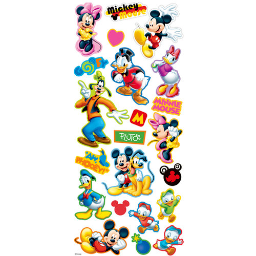 EK Success - Disney - Mickey Mouse Collection - 3 Dimensional Chipboard Stickers - Mickey and Friends