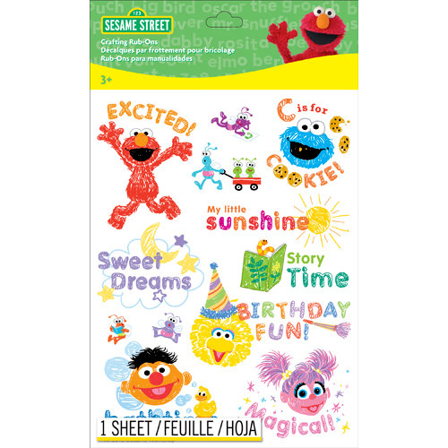 EK Success - Sesame Street Collection - Rub Ons - Word and Icon