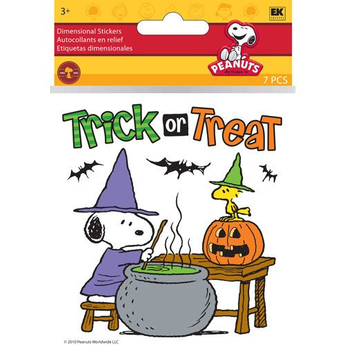 EK Success - Peanuts Collection - Halloween - 3 Dimensional Stickers with Epoxy and Foil Accents - Snoopy Cauldron