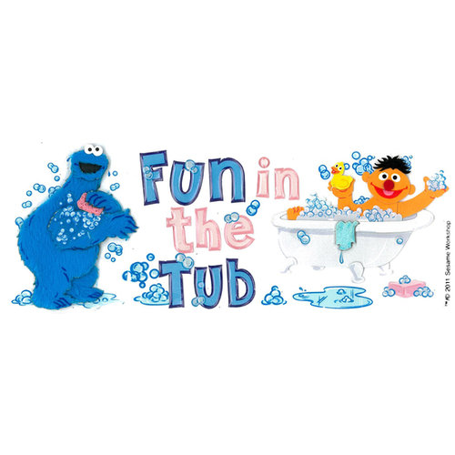 EK Success - Sesame Street Collection - 3 Dimensional Title Stickers with Epoxy Accents - Fun in the Tub