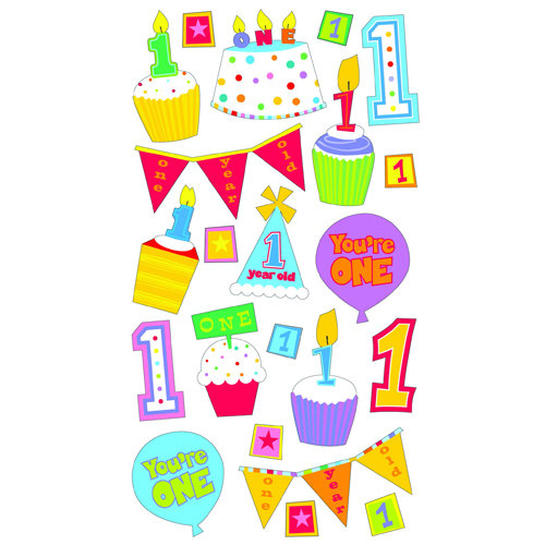 EK Success - Sticko Classic 58 Stickers - Baby's First Birthday