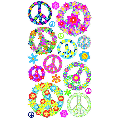 EK Success - Sticko Classic 58 Stickers - Floral Peace Signs