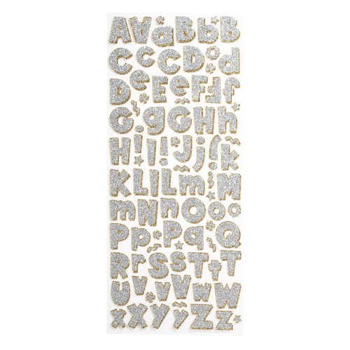 EK Success - Sticko Glitter Stickers - Alphabet - Large - Party Time Silver
