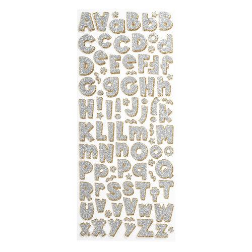 EK Success - Sticko Glitter Stickers - Alphabet - Large - Party Time Silver