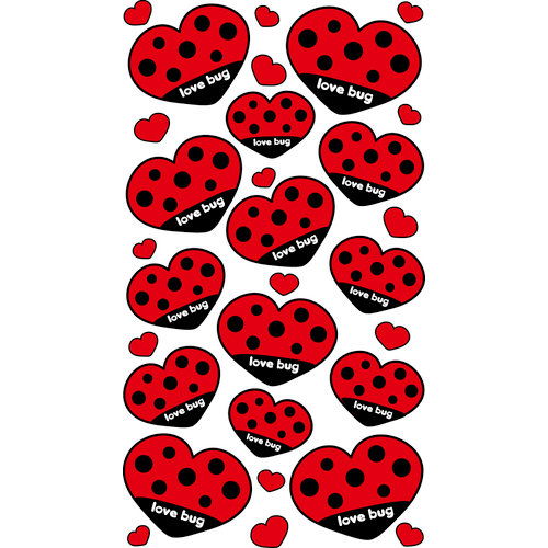 EK Success - Sticko Sparkler Stickers - Love Bug Heart Repeats