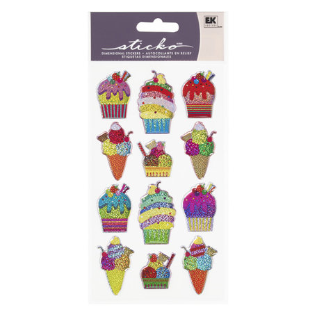 EK Success - Sticko Sparkler Stickers - Ice Cream Parlor