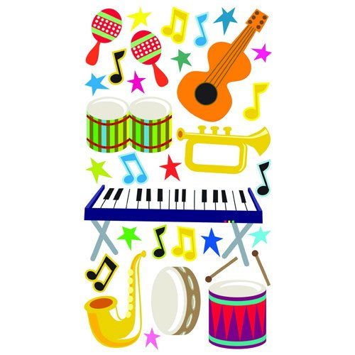 EK Success - Sticko Sparkler Stickers - Musical Instruments