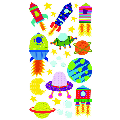 EK Success - Sticko Sparkler Stickers - Solar System n Rocket Ship