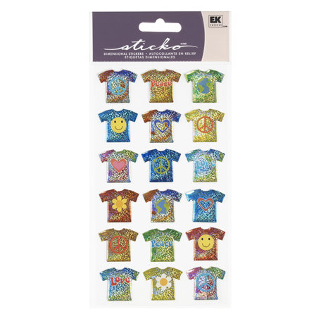 EK Success - Sticko Sparkler Stickers - Tie-Dye T-Shirt Repeats