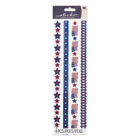 EK Success - Sticko Sparkler Stickers - Borders - Patriotic