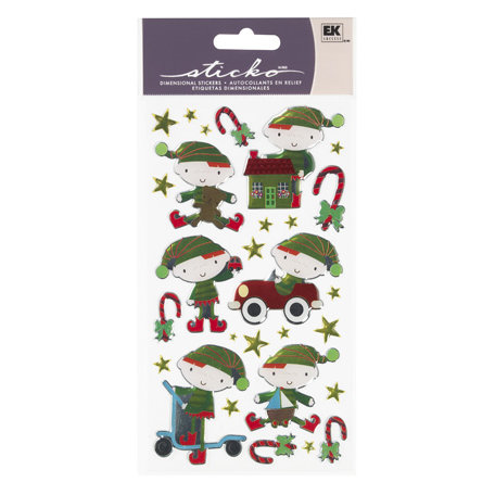 EK Success - Sticko Sparkler Stickers - Christmas - Santa's Toyshop
