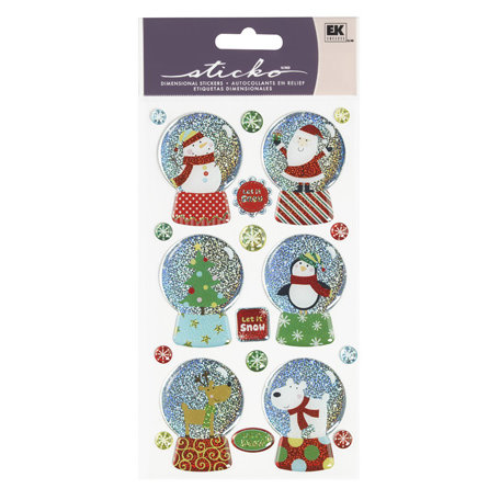 EK Success - Sticko Sparkler Stickers - Christmas - Whimsical Christmas Snowglobe