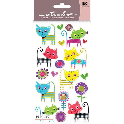 EK Success - Sticko Sparkler Stickers - Patterned Kitties