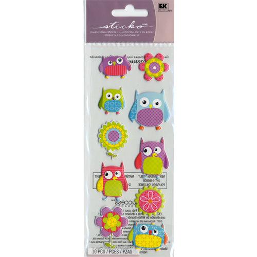 EK Success - Sticko Puffy Stickers - Flower Owl