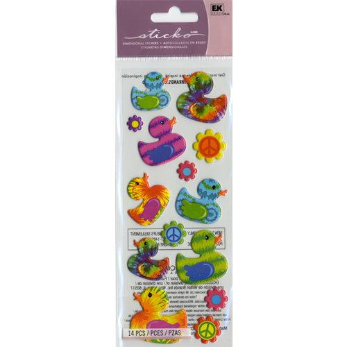 EK Success - Sticko Puffy Stickers - Tie Dye Ducks