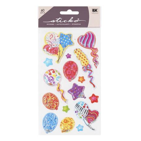 EK Success - Sticko Sparkler Stickers - Birthday Colorful Balloons