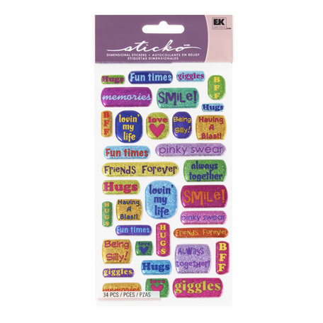 EK Success - Sticko Sparkler Stickers - Best Friend Captions