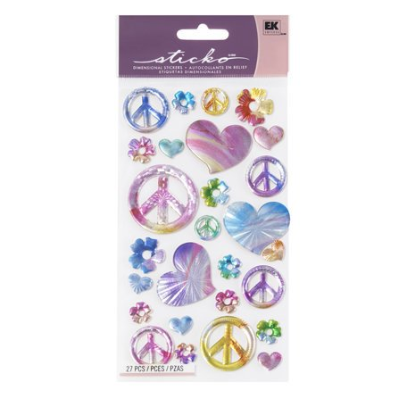 EK Success - Sticko Sparkler Stickers - Rainbow Peace Signs