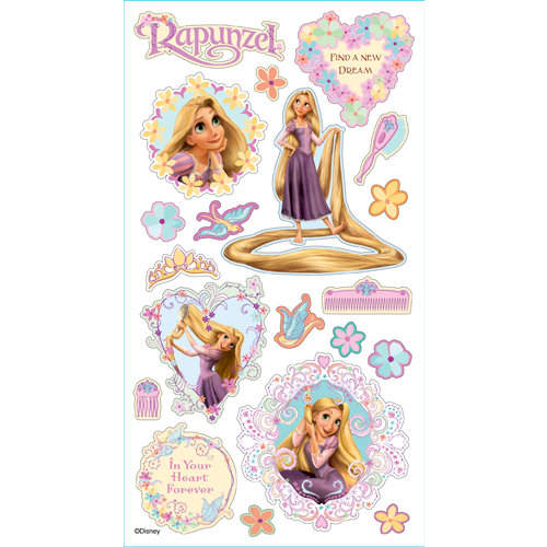 EK Success - Disney Collection - 3 Dimensional Puffy Stickers - Rapunzel