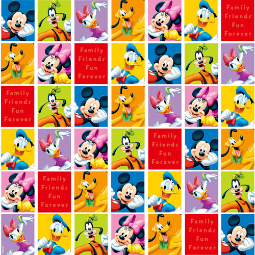 EK Success - Disney Collection - 12 x 12 Paper with Varnish Accents - Mickey and Friends Portrait