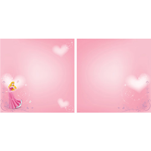 EK Success - Disney Collection - 12 x 12 Double Sided Paper with Glitter Accents - Aurora Heart
