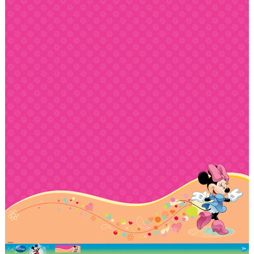 EK Success - Disney Collection - Mickey Family - 12 x 12 Paper with Glitter and Varnish Accents - Minnie Mouse