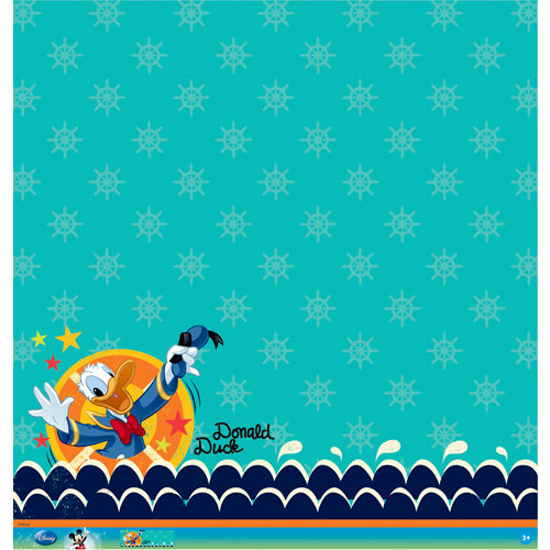EK Success - Disney Collection - Mickey Family - 12 x 12 Paper with Glitter and Varnish Accents - Donald Duck