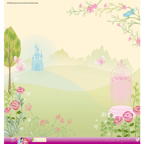EK Success - Disney Collection - Princess - 12 x 12 Paper with Glitter Accents - Fairy Tale Land