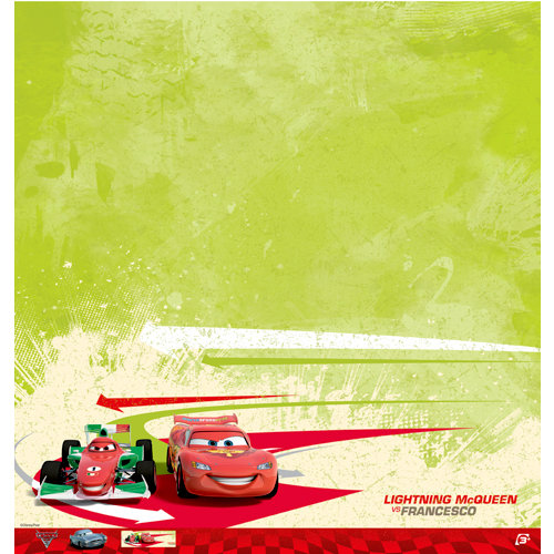 EK Success - Disney Collection - Cars 2 - 12 x 12 Paper - Lightning McQueen and Francesco
