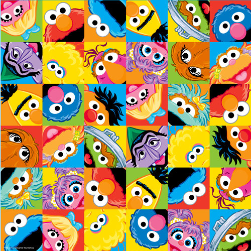 EK Success - Sesame Street Collection - 12 x 12 Double Sided Paper with Varnish Accents - Character Faces