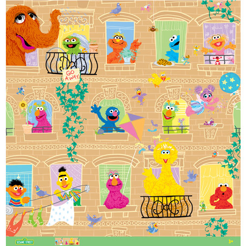 EK Success - Sesame Street Collection - 12 x 12 Paper with Glitter and Varnish Accents - Windows