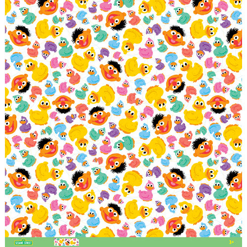 EK Success - Sesame Street Collection - 12 x 12 Paper with Varnish Accents - Rubber Ducky