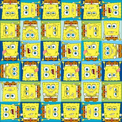 EK Success - Nickelodeon Collection - 12 x 12 Paper with Varnish Accents - SpongeBob Faces