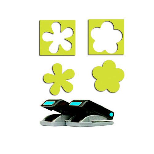 EK Success - Paper Shapers - Slim Profile - Mini Punch Set - 2 Pieces - Flower and Retro Flower