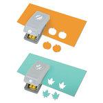 EK Success - Paper Shapers - Halloween - Slim Profile - Mini Punch Set - 2 Pieces - Pumpkin and Leaf