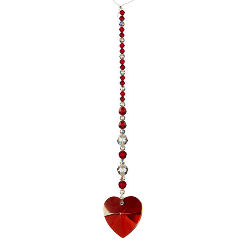 EK Success - Jolee's Jewels - Crystallized Swarovski Elements Collection - Jewelry Crystal Bicone and Pendant Strand - Heart - Red Magma