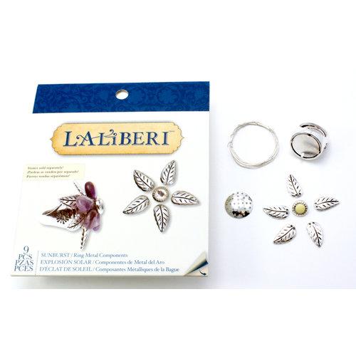 EK Success - Laliberi - Vintage Petals Collection - Jewelry Ring Component Kit - Sunburst - Silver