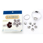 EK Success - Laliberi - Vintage Petals Collection - Jewelry Cuff Component Kit - Palm Leaf - Silver